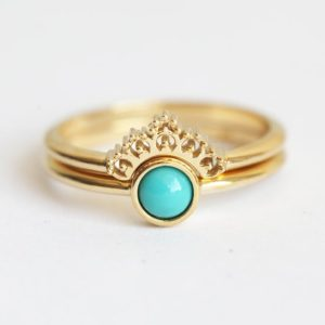 Shop Turquoise Rings! Round Turquoise Ring Solitaire with Yellow Gold Lace Band, 14k 18k Turquoise Ring Set | Natural genuine Turquoise rings, simple unique handcrafted gemstone rings. #rings #jewelry #shopping #gift #handmade #fashion #style #affiliate #ad