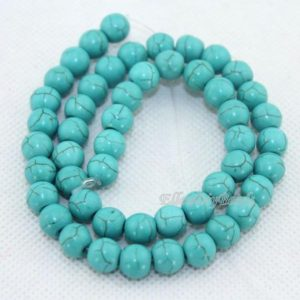 Shop Turquoise Beads! 6mm & 8mm Blue Round Turquoise Beads, blue Turquoise Beads, looseturquoise Beads, gemstone Beads, one Full Strand–bt042 | Natural genuine beads Turquoise beads for beading and jewelry making.  #jewelry #beads #beadedjewelry #diyjewelry #jewelrymaking #beadstore #beading #affiliate #ad