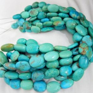 "Turquoise Sleeping Beauty Smooth Nugget Beads Oval Shape 14×10.MM Approx 10""INCHES Natural Top Quality Wholesale Price 