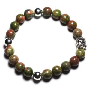 Gemstone – Unakite 8 mm and Buddha bracelet | Natural genuine Gemstone bracelets. Buy crystal jewelry, handmade handcrafted artisan jewelry for women.  Unique handmade gift ideas. #jewelry #beadedbracelets #beadedjewelry #gift #shopping #handmadejewelry #fashion #style #product #bracelets #affiliate #ad