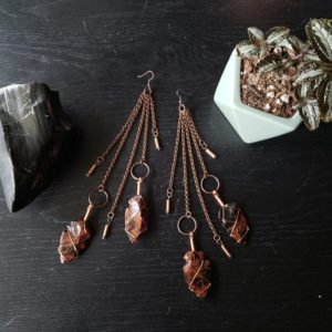 Shop Mahogany Obsidian Earrings! Very Long Mahogany Obsidian Arrowhead Dangle Earrings Wire Wrapped with Copper. One of a kind statement earrings | Natural genuine Mahogany Obsidian earrings. Buy crystal jewelry, handmade handcrafted artisan jewelry for women.  Unique handmade gift ideas. #jewelry #beadedearrings #beadedjewelry #gift #shopping #handmadejewelry #fashion #style #product #earrings #affiliate #ad