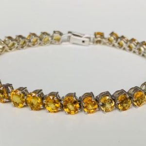 Shop Yellow Sapphire Bracelets! Vintage 14ct Yellow Sapphire Bracelet set in 9K White Gold,Tennis Bracelet,September Birthstone,Birthday Gift,Christmas Gift   Natural genuine Yellow Sapphire bracelets. Buy crystal jewelry, handmade handcrafted artisan jewelry for women.  Unique handmade gift ideas. #jewelry #beadedbracelets #beadedjewelry #gift #shopping #handmadejewelry #fashion #style #product #bracelets #affiliate #ad