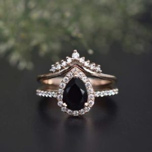 Shop Onyx Jewelry! Vintage Black Onyx Pear Shaped Wedding Engagement Ring Set, CZ Diamond Black Engagement Ring Black Onyx Stacking Engagement Ring Set Women | Natural genuine Onyx jewelry. Buy handcrafted artisan wedding jewelry.  Unique handmade bridal jewelry gift ideas. #jewelry #beadedjewelry #gift #crystaljewelry #shopping #handmadejewelry #wedding #bridal #jewelry #affiliate #ad