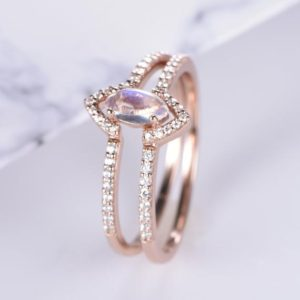 Shop Rainbow Moonstone Rings! Vintage Marquise Rainbow Moonstone Engagement Ring Set/Dainty Chevron Wedding Ring 14K Rose Gold Anniversary Ring/Women Promise Gift For Her | Natural genuine Rainbow Moonstone rings, simple unique alternative gemstone engagement rings. #rings #jewelry #bridal #wedding #jewelryaccessories #engagementrings #weddingideas #affiliate #ad