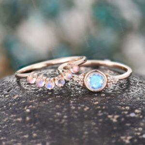 Vintage Moonstone engagement ring Set, bezel set wedding ring set,rose gold wedding ring,Art deco Ring set Anniversary Ring unique ring Set | Natural genuine Gemstone rings, simple unique alternative gemstone engagement rings. #rings #jewelry #bridal #wedding #jewelryaccessories #engagementrings #weddingideas #affiliate #ad