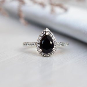 Vintage Pear Shaped Black Onyx Engagement Ring, Unique Halo Black Ring, Black Onyx Jewelry, Wedding Bridal Promise Ring, Teardrop Ring Black | Natural genuine Array rings, simple unique alternative gemstone engagement rings. #rings #jewelry #bridal #wedding #jewelryaccessories #engagementrings #weddingideas #affiliate #ad