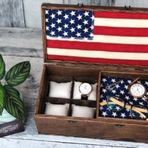 Shop Storage for Beading Supplies! Watch Box / Watch Storage / Watch Display / Large Watch Case / American Flag / Commendation Box / Mens Jewelry Box/ Anniversary Gift | Shop jewelry making and beading supplies, tools & findings for DIY jewelry making and crafts. #jewelrymaking #diyjewelry #jewelrycrafts #jewelrysupplies #beading #affiliate #ad