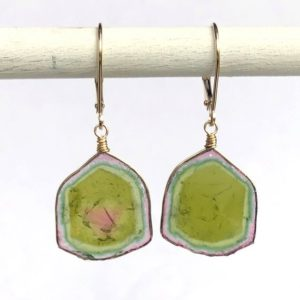 Shop Watermelon Tourmaline Earrings! Watermelon Tourmaline Earrings, Brazil Tourmaline Slice Earrings – 14K solid gold, AAA, Large and RARE  Collectors Specimens | Natural genuine Watermelon Tourmaline earrings. Buy crystal jewelry, handmade handcrafted artisan jewelry for women.  Unique handmade gift ideas. #jewelry #beadedearrings #beadedjewelry #gift #shopping #handmadejewelry #fashion #style #product #earrings #affiliate #ad