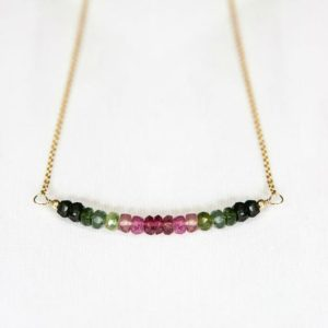 Shop Watermelon Tourmaline Necklaces! Watermelon Tourmaline Necklace, 40th Birthday Gift For Sister, Ombre Necklace, Pink Green Tourmaline Jewelry, Sister Birthday Present Idea | Natural genuine Watermelon Tourmaline necklaces. Buy crystal jewelry, handmade handcrafted artisan jewelry for women.  Unique handmade gift ideas. #jewelry #beadednecklaces #beadedjewelry #gift #shopping #handmadejewelry #fashion #style #product #necklaces #affiliate #ad