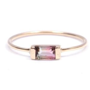 Shop Watermelon Tourmaline Rings! Watermelon tourmaline ring, Bicolor tourmaline gold ring, tourmaline baguette ring, tourmaline stacking ring, tourmaline ring | Natural genuine Watermelon Tourmaline rings, simple unique handcrafted gemstone rings. #rings #jewelry #shopping #gift #handmade #fashion #style #affiliate #ad