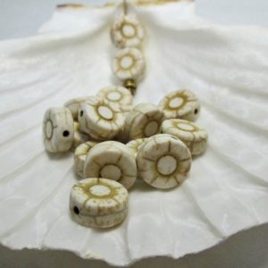 White Cream Stone Flower Bead, Natural Magnesite Bead, 12mm, (16) | Natural genuine other-shape Gemstone beads for beading and jewelry making.  #jewelry #beads #beadedjewelry #diyjewelry #jewelrymaking #beadstore #beading #affiliate #ad