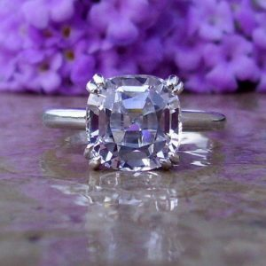 White Sapphire Engagement Ring, Cushion Cut Sapphire, Large Sapphire Ring,  5 Carats, Solitaire Sapphire, Made To Order Engagement Ring | Natural genuine Gemstone rings, simple unique alternative gemstone engagement rings. #rings #jewelry #bridal #wedding #jewelryaccessories #engagementrings #weddingideas #affiliate #ad