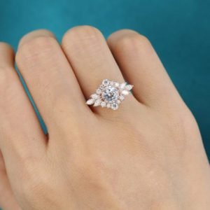 white sapphire engagement ring Rose gold Unique Flower engagement ring vintage Marquise cut moissanite wedding Antique Bridal gift for women | Natural genuine Array rings, simple unique alternative gemstone engagement rings. #rings #jewelry #bridal #wedding #jewelryaccessories #engagementrings #weddingideas #affiliate #ad