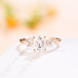 White Sapphire engagement ring Unique engagement ring Vintage antique engagement ring Oval solid rose gold Marquise Diamond/moissanite ring | Natural genuine Array rings, simple unique alternative gemstone engagement rings. #rings #jewelry #bridal #wedding #jewelryaccessories #engagementrings #weddingideas #affiliate #ad
