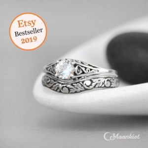 Shop Healing Gemstone Rings! Dainty White Sapphire Engagement Ring & Floral Fitted Band, Sterling Silver Filigree Engagement Ring Set, Nature-Inspired Wedding Ring Set | Natural genuine Gemstone rings, simple unique alternative gemstone engagement rings. #rings #jewelry #bridal #wedding #jewelryaccessories #engagementrings #weddingideas #affiliate #ad