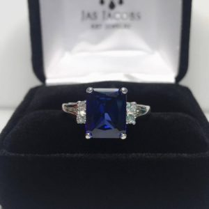 Gorgeous 4ct Emerald Cut Sapphire Ring White Sapphire Accents 14k Gold Sz 5 6 7 8 9 Custom Size Jewelry Gift Wife Bridal September Valentine | Natural genuine Gemstone rings, simple unique alternative gemstone engagement rings. #rings #jewelry #bridal #wedding #jewelryaccessories #engagementrings #weddingideas #affiliate #ad