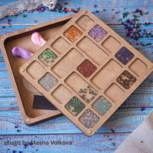 Shop Bead Boards & Trays! Wooden box for beads with plastic lid accessory for beadwork, organizer for jeweler, container for beads, bead holder,organizer made of wood | Shop jewelry making and beading supplies, tools & findings for DIY jewelry making and crafts. #jewelrymaking #diyjewelry #jewelrycrafts #jewelrysupplies #beading #affiliate #ad