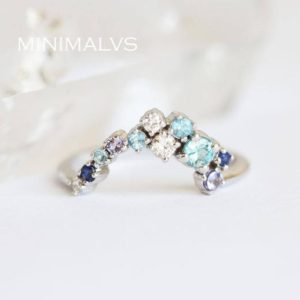 Multistone Wedding Band, Cluster Wedding Band, Unique Ring with Diamond Sapphire Blue Zircon | Natural genuine Zircon rings, simple unique alternative gemstone engagement rings. #rings #jewelry #bridal #wedding #jewelryaccessories #engagementrings #weddingideas #affiliate #ad