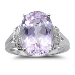 Shop Kunzite Rings! 0.03 Cts Diamond & 7.00 Cts Kunzite Ring in 14K White Gold | Natural genuine Kunzite rings, simple unique handcrafted gemstone rings. #rings #jewelry #shopping #gift #handmade #fashion #style #affiliate #ad
