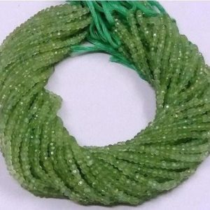 """Shop Prehnite Rondelle Beads! 10 Strands Prehnite Faceted Rondelle Beads, Prehnite Gemstone Rondelle Beads, Prehnite Rondelle, Bead Size 3.5-4mm, 13"""" Long Strand 