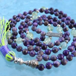 Shop Lepidolite Necklaces! 108 Genuine Knotted Lepidolite and Prehnite Mala Beads Necklace, Energized Lepidolite Mala, 8 mm Lepidolite Necklace, Purple and Green Mala | Natural genuine Lepidolite necklaces. Buy crystal jewelry, handmade handcrafted artisan jewelry for women.  Unique handmade gift ideas. #jewelry #beadednecklaces #beadedjewelry #gift #shopping #handmadejewelry #fashion #style #product #necklaces #affiliate #ad
