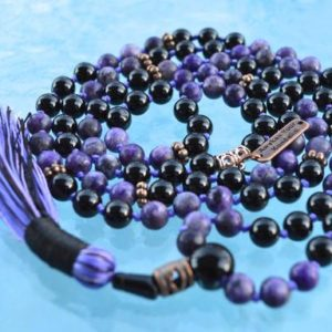 Shop Lepidolite Necklaces! 108 Knotted Lepidolite and Black Tourmaline Mala Beads Necklace, Energized Lepidolite Mala, 8 mm Lepidolite Necklace, Purple and Black Mala | Natural genuine Lepidolite necklaces. Buy crystal jewelry, handmade handcrafted artisan jewelry for women.  Unique handmade gift ideas. #jewelry #beadednecklaces #beadedjewelry #gift #shopping #handmadejewelry #fashion #style #product #necklaces #affiliate #ad