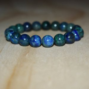 Shop Azurite Jewelry! 10mm Azurite Bracelet, Bracelets For Men, Bracelets For Women, Stress Bracelet, Beaded Bracelet, Calming Bracelet, Elastic Bracelet | Natural genuine Azurite jewelry. Buy handcrafted artisan men's jewelry, gifts for men.  Unique handmade mens fashion accessories. #jewelry #beadedjewelry #beadedjewelry #shopping #gift #handmadejewelry #jewelry #affiliate #ad