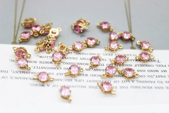 10pcs Gold Plated Tiny Cubic Zirconia Charm,5*10mm,pink Round Drop,cz Pave Connector,jewelry Making, Diy Material, Crafts Supplies