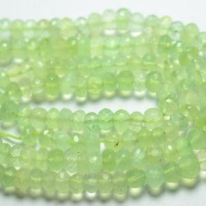 Shop Prehnite Rondelle Beads! 13 Inch Strand Natural Prehnite Rondelle Beads 6mm to 6.5mm Faceted Rondelles Gemstone Beads Rare Prehnite Beads Semi Precious Stone No4010 | Natural genuine rondelle Prehnite beads for beading and jewelry making.  #jewelry #beads #beadedjewelry #diyjewelry #jewelrymaking #beadstore #beading #affiliate #ad