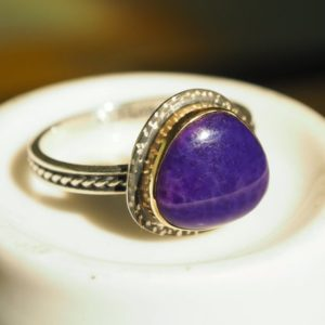 Shop Sugilite Rings! 14k Gold Sugilite Ring | Natural genuine Sugilite rings, simple unique handcrafted gemstone rings. #rings #jewelry #shopping #gift #handmade #fashion #style #affiliate #ad