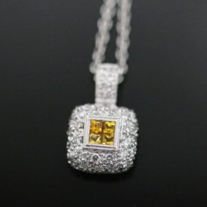Shop Yellow Sapphire Necklaces! 18 Karat White Gold Yellow Sapphire and Diamond Necklace | Natural genuine Yellow Sapphire necklaces. Buy crystal jewelry, handmade handcrafted artisan jewelry for women.  Unique handmade gift ideas. #jewelry #beadednecklaces #beadedjewelry #gift #shopping #handmadejewelry #fashion #style #product #necklaces #affiliate #ad