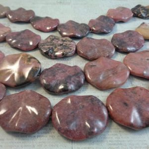 Shop Rhodonite Bead Shapes! 2 Pink Rhodonite Dimpled Flat Oval Shaped Stone Beads 32x28x5mm Smooth Finish Stone Bead Pink Gray Rhodonite Dimpled Pink Stone Beads #S1453 | Natural genuine other-shape Rhodonite beads for beading and jewelry making.  #jewelry #beads #beadedjewelry #diyjewelry #jewelrymaking #beadstore #beading #affiliate #ad