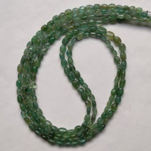 """Shop Emerald Bead Shapes! 22""""Inches Strand Natural ZAMBIAN EMERALD, Rare Finest Quality 100% Natural Emerald Smooth Oval Shape Beads, 5×4 To 5×3 MM Green Emerald V642 