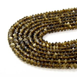 Shop Golden Obsidian Beads! 3x2MM Golden Obsidian Gemstone Grade AAA Bicone Faceted Rondelle Saucer Loose Beads (P1) | Natural genuine rondelle Golden Obsidian beads for beading and jewelry making.  #jewelry #beads #beadedjewelry #diyjewelry #jewelrymaking #beadstore #beading #affiliate #ad