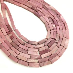 Shop Rhodonite Bead Shapes! 4x13mm Natural Pink Rhodonite Cube Shape Small Beads Tube Stone for Bracelet or Necklace Diy Jewelry Making Gemstone Spacer Beads 15inch | Natural genuine other-shape Rhodonite beads for beading and jewelry making.  #jewelry #beads #beadedjewelry #diyjewelry #jewelrymaking #beadstore #beading #affiliate #ad