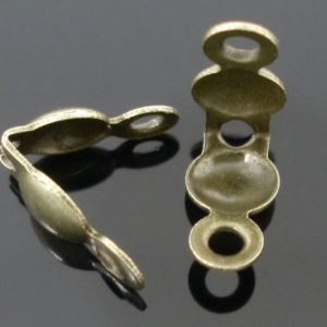 Shop Bead Tips & Knot Covers! 50 Bronze Charlotte Necklace Crimps Bead Tips -WHOLESALE –  Fit 3.2mm Ball Chain – 8x4mm – 50pcs – Ships IMMEDIATELY  – F275 | Shop jewelry making and beading supplies, tools & findings for DIY jewelry making and crafts. #jewelrymaking #diyjewelry #jewelrycrafts #jewelrysupplies #beading #affiliate #ad