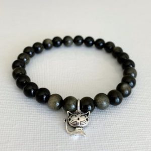 Shop Golden Obsidian Bracelets! 6.5mm Golden OBSIDIAN Bracelet, Stone of Truth, Awaken Inner Warrior, Chakra Healing, Shaman Crystal, Protection Mala, SS Cat Charm | Natural genuine Golden Obsidian bracelets. Buy crystal jewelry, handmade handcrafted artisan jewelry for women.  Unique handmade gift ideas. #jewelry #beadedbracelets #beadedjewelry #gift #shopping #handmadejewelry #fashion #style #product #bracelets #affiliate #ad