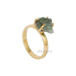 Shop Green Tourmaline Rings! 6 Ct. Natural Green Tourmaline Raw Rough Loose Gemstone Ring, Gold Plated 925 Sterling Silver Crystal Healing Tourmaline Stone Ring | Natural genuine Green Tourmaline rings, simple unique handcrafted gemstone rings. #rings #jewelry #shopping #gift #handmade #fashion #style #affiliate #ad
