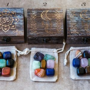 Shop Chakra Stone Sets! 7 Chakra Stone Set, Natural Stones Chakra Gift Set, Chakra Crystals, Chakra Kit, Healing Stones Wooden Gift Set, Yoga Meditation Crystal Kit | Shop jewelry making and beading supplies, tools & findings for DIY jewelry making and crafts. #jewelrymaking #diyjewelry #jewelrycrafts #jewelrysupplies #beading #affiliate #ad