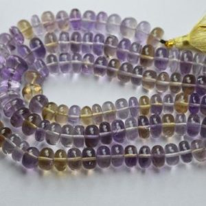 Shop Ametrine Rondelle Beads! 8 Inch strand,Natural Ametrine Smooth Rondelles.8-9mm | Natural genuine rondelle Ametrine beads for beading and jewelry making.  #jewelry #beads #beadedjewelry #diyjewelry #jewelrymaking #beadstore #beading #affiliate #ad