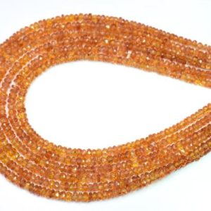 Shop Sapphire Rondelle Beads! 8 Inches Faceted Orange Sapphire Rondelle Beads, Natural Gemstone Orange Sapphire Beads Size 2 To 3 mm Top Quality | Natural genuine rondelle Sapphire beads for beading and jewelry making.  #jewelry #beads #beadedjewelry #diyjewelry #jewelrymaking #beadstore #beading #affiliate #ad