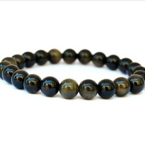 Shop Golden Obsidian Bracelets! 8mm Sheen Golden Obsidian Bracelet Gemstone Bracelet Mens Beaded Stone Bracelets for Women, Stretch Bracelet, Gifts for Him, Gifts for Her | Natural genuine Golden Obsidian bracelets. Buy handcrafted artisan men's jewelry, gifts for men.  Unique handmade mens fashion accessories. #jewelry #beadedbracelets #beadedjewelry #shopping #gift #handmadejewelry #bracelets #affiliate #ad