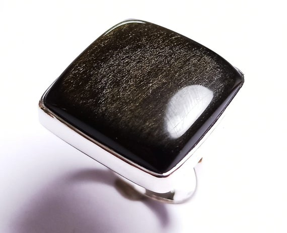 925 Sterling Silver Handmade Ring With Natural Golden Sheen Obsidian Gemstone,925 Silver Jewelry,minimalist Silver Ring