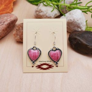 Shop Heart Shaped Earrings! 925ForHer Dainty Pink Heart Rhodochrosite Dangle Earrings | Pink Rhodochrosite Earrings | Sterling Silver Pink Dangle Earrings | Made in USA | Natural genuine Gemstone earrings. Buy crystal jewelry, handmade handcrafted artisan jewelry for women.  Unique handmade gift ideas. #jewelry #beadedearrings #beadedjewelry #gift #shopping #handmadejewelry #fashion #style #product #earrings #affiliate #ad