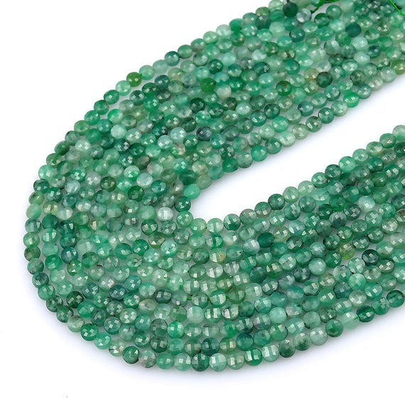 """Aa Real Genuine Natural Green Emerald Gemstone Faceted 4mm Coin Beads Laser Diamond Cut Gemstone May Birthstone 15.5"""" Strand"""