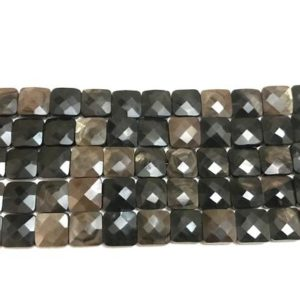 """Shop Golden Obsidian Beads! AAA Grade Golden Sheen Obsidian Faceted Square shape Briolette Beads, Size 6/8/10 mm, 8"""" Strand Length, Super Quality gems for Jewellery 