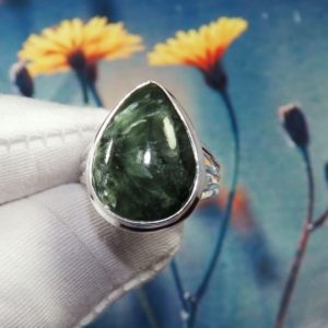 Shop Seraphinite Rings! AAA Seraphinite Ring, Seraphinite Ring, 925 Silver Ring, Sterling Silver Ring, Women Ring, For Her, Christmas Gift Idea, Rings, JPZ0211   Natural genuine Seraphinite rings, simple unique handcrafted gemstone rings. #rings #jewelry #shopping #gift #handmade #fashion #style #affiliate #ad