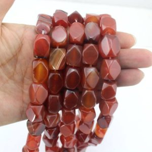 Shop Agate Chip & Nugget Beads! 10% OFF 12x15mm Faceted agatebeads, Red Agate Beads ,Rectangular Faceted nugget agate,Hexagon Agate beads,Gemstone Beads -about 24PC-EB242 | Natural genuine chip Agate beads for beading and jewelry making.  #jewelry #beads #beadedjewelry #diyjewelry #jewelrymaking #beadstore #beading #affiliate #ad