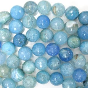 "Shop Agate Faceted Beads! 12mm faceted blue crab fire agate round beads 15"" strand 38409 