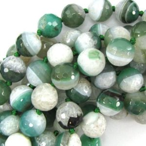 "Shop Agate Faceted Beads! 14mm faceted druzy agate round 12"" strand green white 30831 